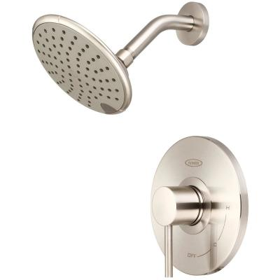 Motegi 1-Handle Wall Mount Shower Faucet Trim Kit in Brushed Nickel with 6 in. Rain Showerhead (Valve not Included)
