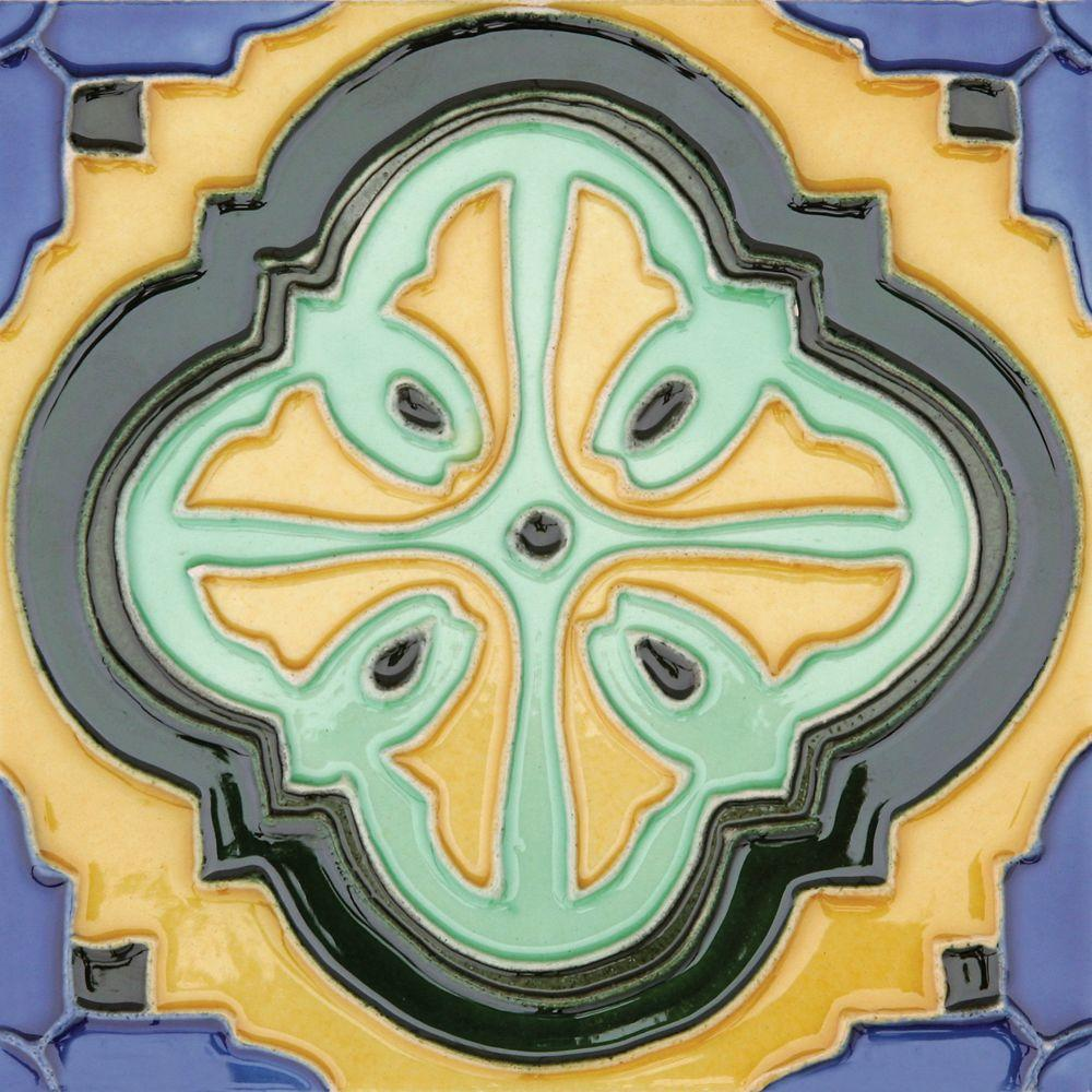 Hand-Painted Acapulco Deco 6 in. x 6 in. Ceramic Wall Tile