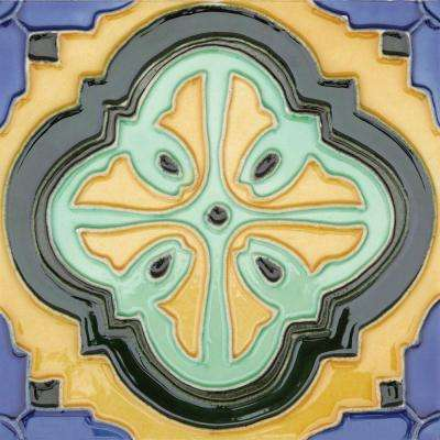 Hand-Painted Acapulco Deco 6 in. x 6 in. Ceramic Wall Tile (2.5 sq. ft. / Case)
