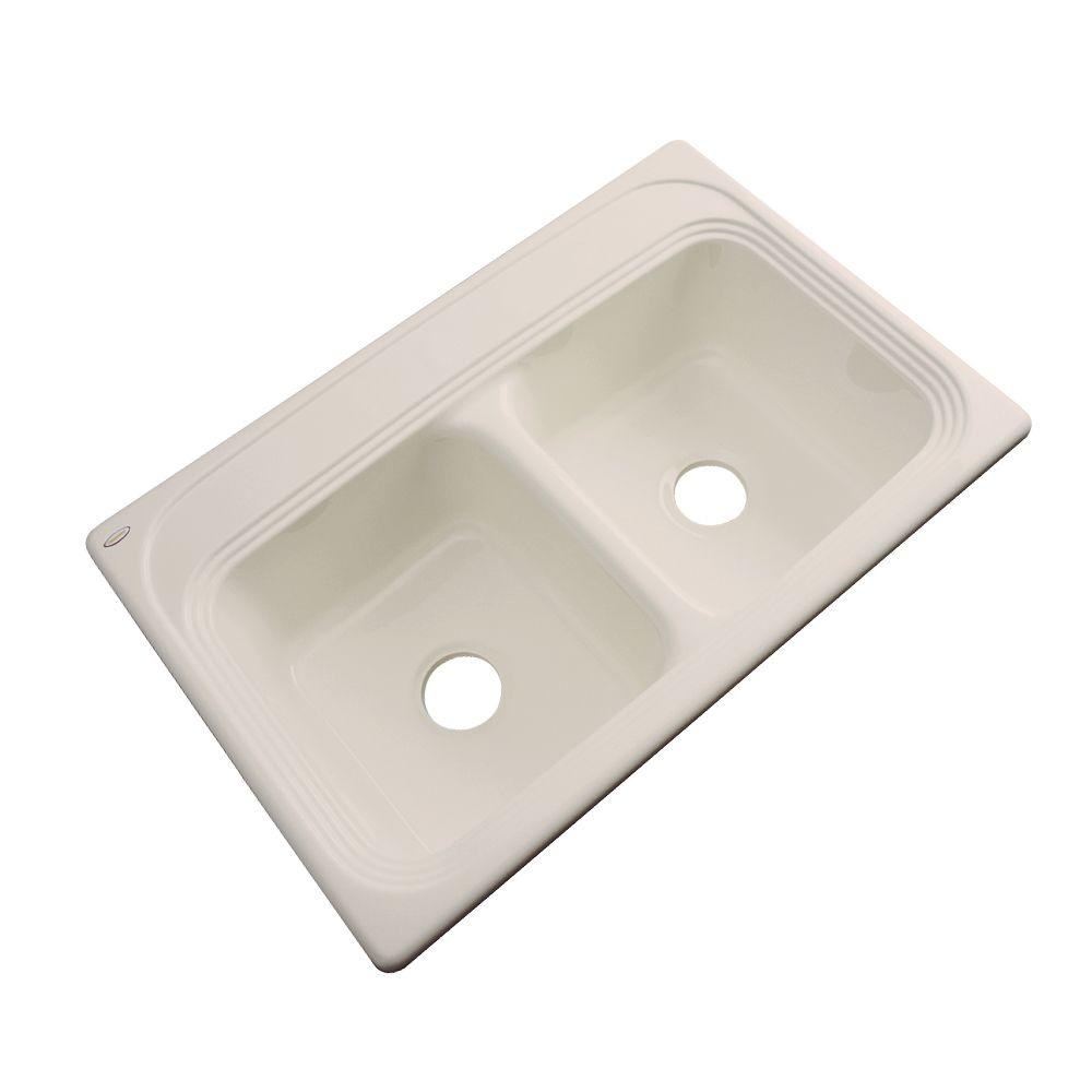 Chesapeake Drop-In Acrylic 33 in. Double Bowl Kitchen Sink in Candle