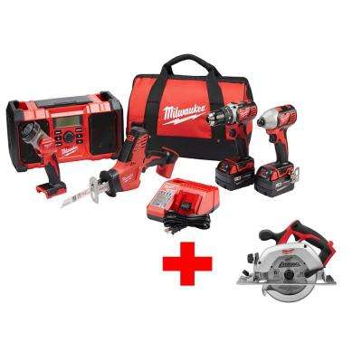 M18 18-Volt Lithium-Ion Cordless Combo Kit (5-Tool) with Free M18 6-1/2 in. Cordless Circular Saw