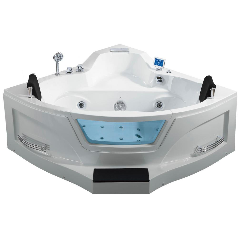 Ariel 5 ft. Right Drain Corner Alcove Whirlpool Bathtub in White-ARL ...