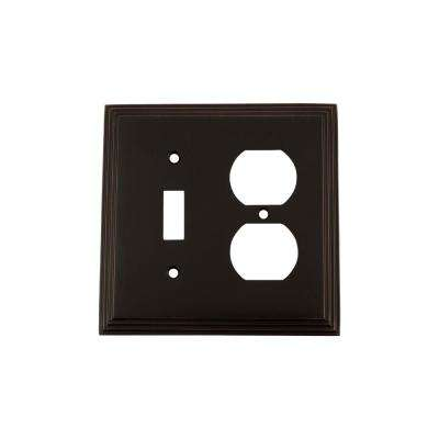 Deco Switch Plate with Toggle and Outlet in Timeless Bronze