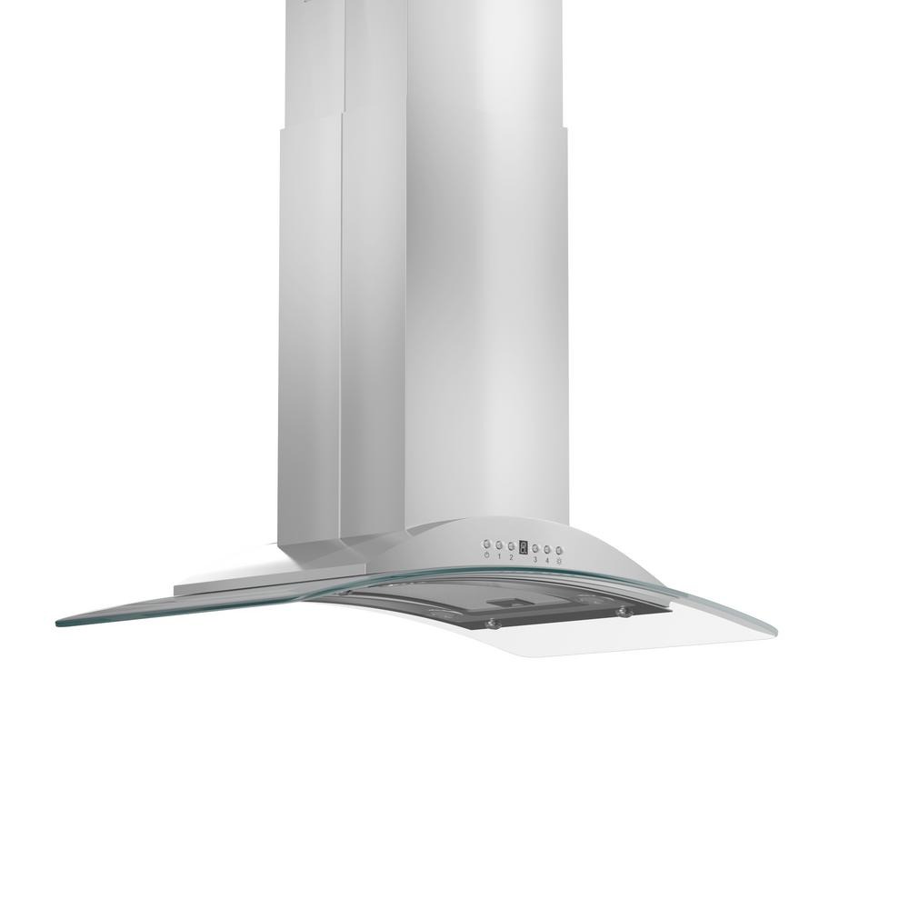 ZLINE Kitchen and Bath 36 in. 760 CFM Island Mount Convertible Range Hood in Stainless Steel, Brushed 430 Stainless Steel ZLINE 36 in. popular stainless steel and glass sleek style of Island Range Hood. Built for years of trouble free use. Easily Convertible to recirculating operation with purchase of carbon filters or standard configuration vents outside. Efficiently and quietly moves large volumes of air and fits ceilings up to 12 ft. with the purchase of the proper ZLINE extensions. Color: Brushed 430 Stainless Steel.