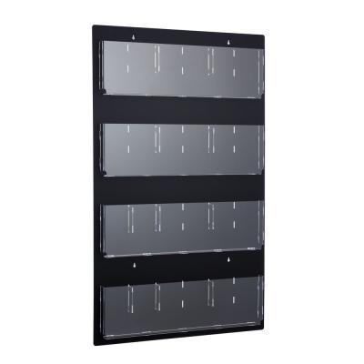 29 in. x 48 in. Black Adjustable Pockets Clear Acrylic Hanging Magazine Rack
