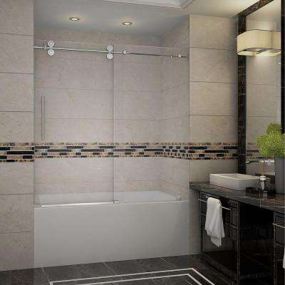 Langham 60 in. x 60 in. Completely Frameless Sliding Tub Door in Chrome with Clear Glass