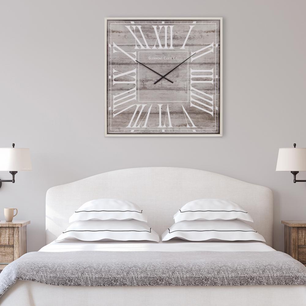 Rustic Light Woodgrain Square Gray Wall Clock