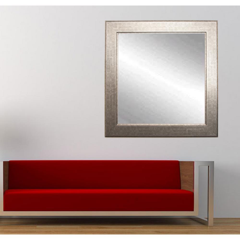Medium Square Silver/Gold Hooks Modern Mirror (32 in. H x 32 in. W)