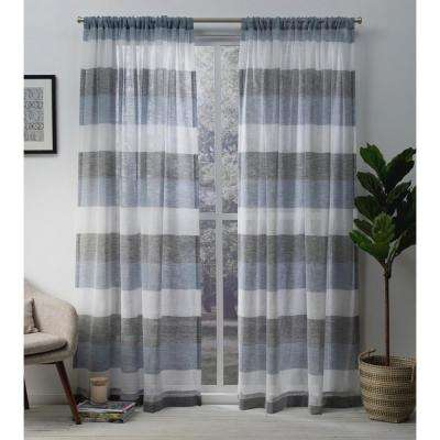Bern 54 in. W x 84 in. L Sheer Rod Pocket Top Curtain Panel in Indigo (2 Panels)