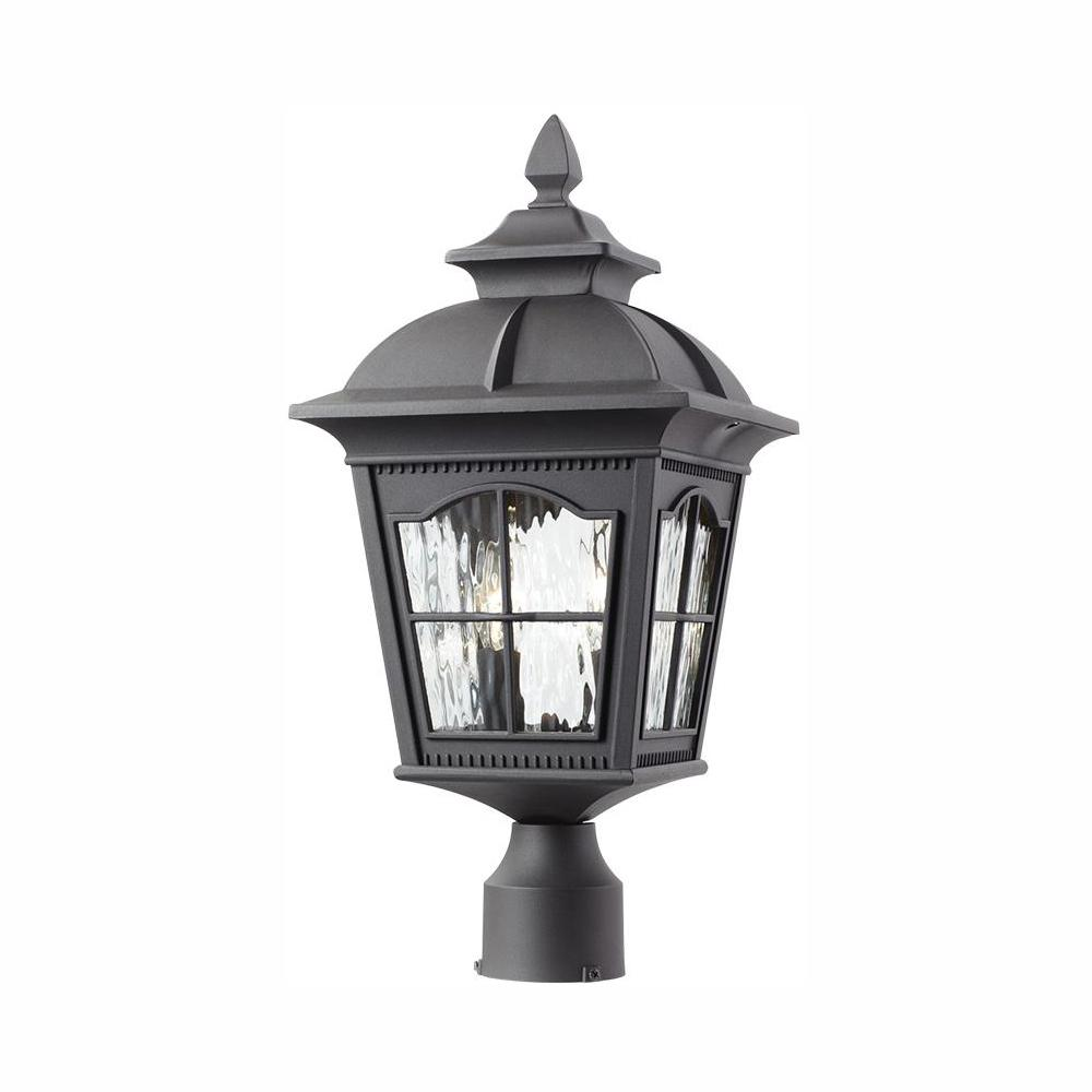Home Decorators Collection Square 2-Light Outdoor Black Post Light