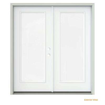 72 in. x 80 in. White Painted Steel Left-Hand Inswing Full Lite Glass Active/Stationary Patio Door