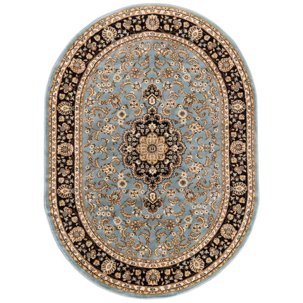 Well Woven Barclay Medallion Kashan Light Blue 5 Ft. X 7