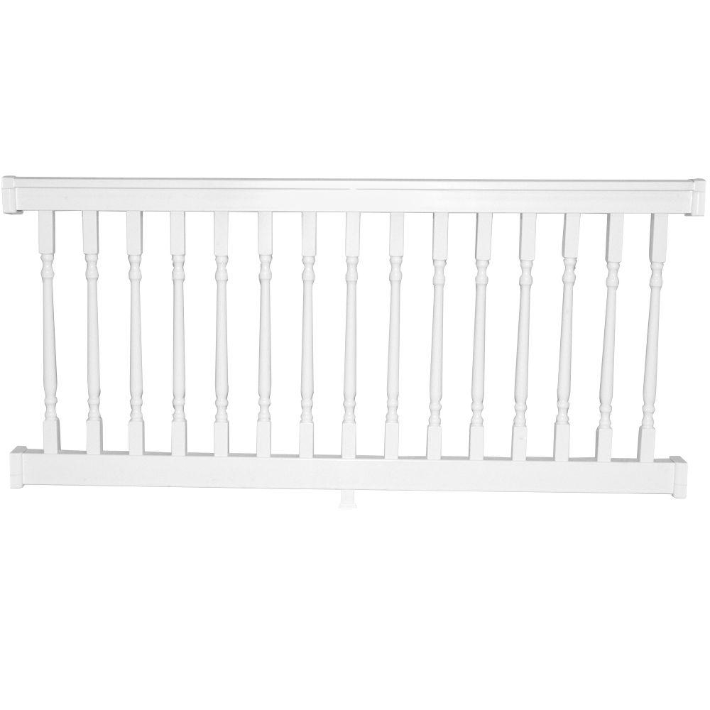 Weatherables delray 3 5 ft h x 8 ft w vinyl white railing kit wwr thdd42 c8 the home depot - Vinyl railing reviews ...