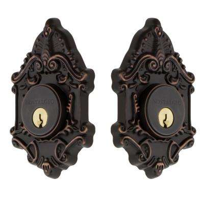 Victorian Plate 2-3/4 in. Timeless Bronze Backset Double Cylinder Deadbolt