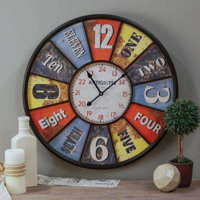 Multicolor 23 in. Wall Clock
