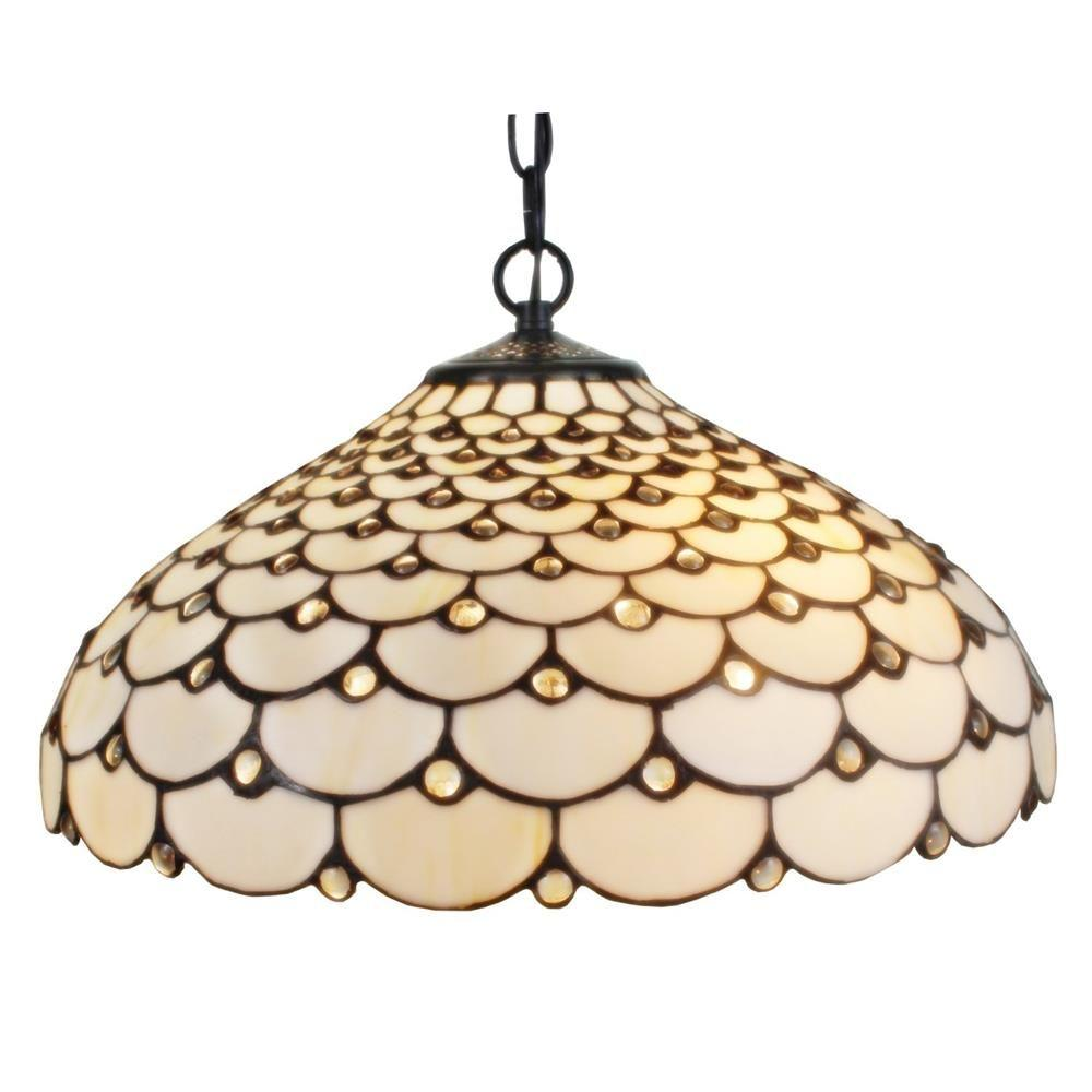 Amora Lighting Tiffany Style 18 In Wide 2 Light Jeweled Hanging Pendant Lamp