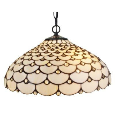 Tiffany Style 18 in. Wide 2-Light Jeweled Hanging Pendant Lamp