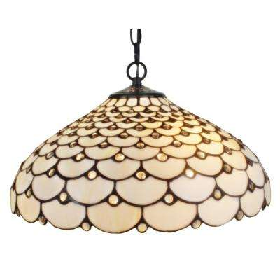 Tiffany Style 2-Light Jeweled Hanging Pendant Lamp 18 in. Wide