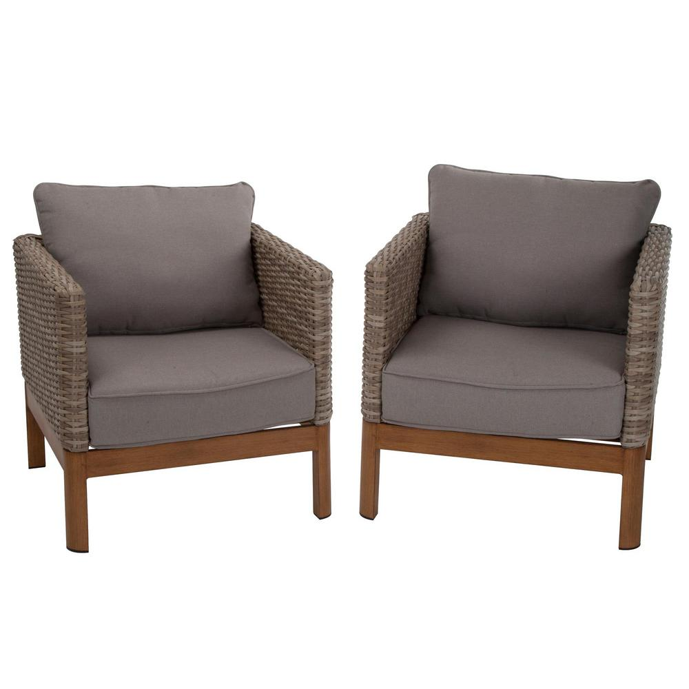 Cosco deep seating tan wicker patio lounge chairs with gray cushion set 2
