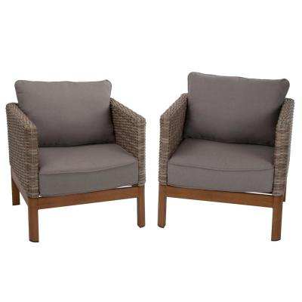 Deep Seating Tan Wicker Patio Lounge Chairs with Gray Cushion (Set-2)