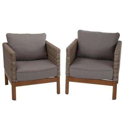 Deep Seating Tan Wicker Patio Lounge Chairs with Gray Cushion (Set-2)