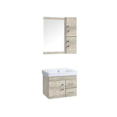 Victoria 24 in. Vanity in Oak Sand with Ceramic Basin in White and Mirror