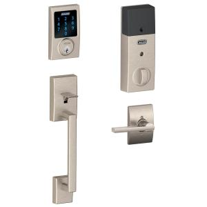 Schlage Century Entrance Handle Set and Touch Screen Electronic Deadbolt with Latitude Interior - Satin Nickel