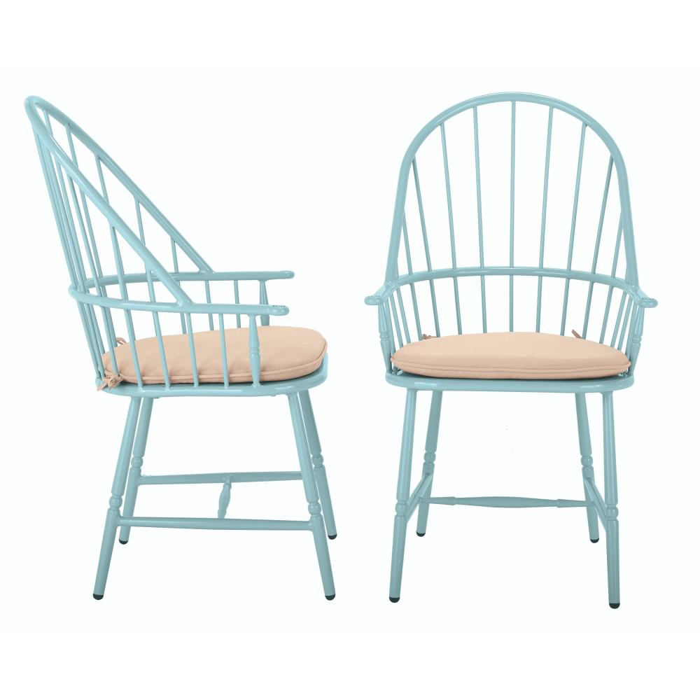 Outstanding Martha Stewart Living Blue Hill Blue Aluminum Outdoor Dining Chairs With Beige Tan Cushions 2 Pack Beutiful Home Inspiration Aditmahrainfo