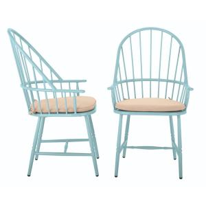 Blue Hill Blue Aluminum Outdoor Dining Chairs With Beige/Tan Cushions  (2 Pack