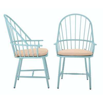 Blue Hill Blue Aluminum Outdoor Dining Chairs with Beige/Tan Cushions (2-Pack)