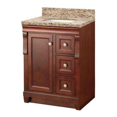 Naples 25 in. W x 22 in. D Vanity in Tobacco with Granite Vanity Top in Giallo Ornamental with White Sink