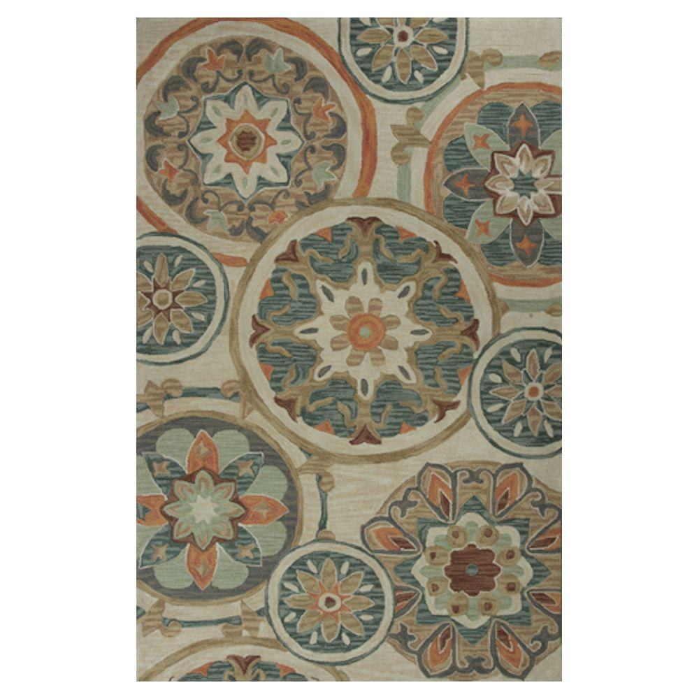Kas Rugs Circles in Style Ivory/Green 2 ft. 3 in. x 3 ft. 9 in. Area Rug
