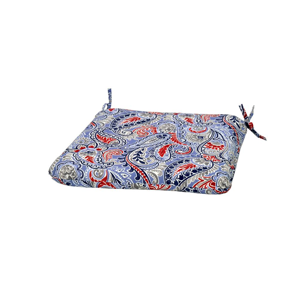 Denim Paisley Square Outdoor Seat Cushion
