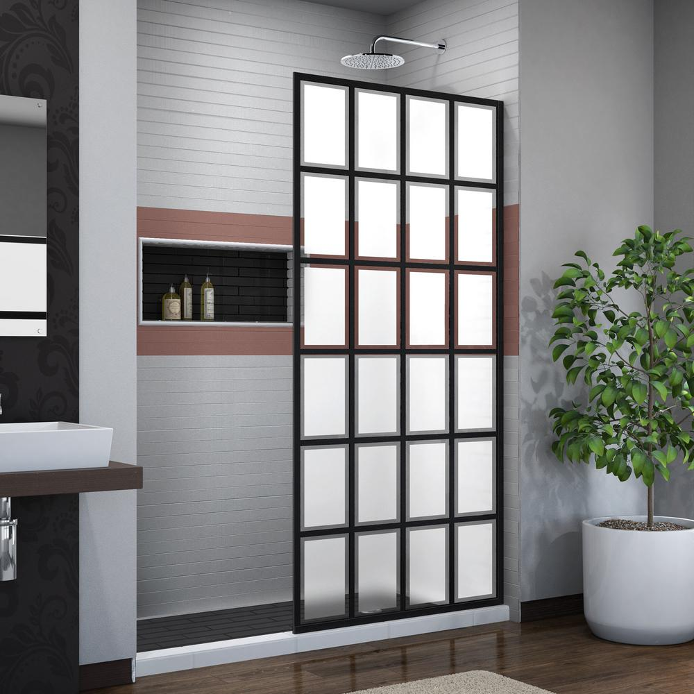 DreamLine French Linea Rhone 34 in. x 72 in. Frameless Fixed Shower Door in Satin Black Without Handle