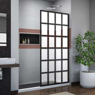 French Linea Rhone 34 in. x 72 in. Frameless Fixed Shower Screen in Satin Black Without Handle
