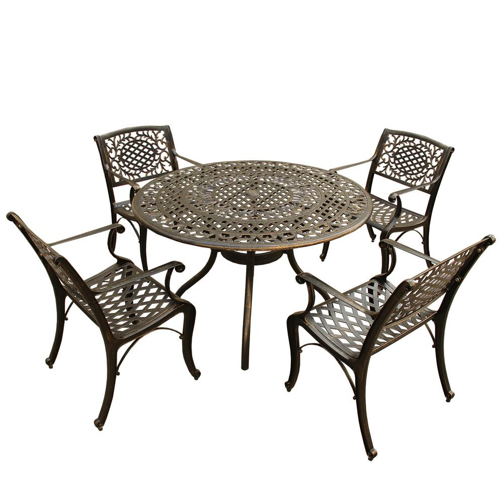 Ornate Traditional 5 Piece Bronze Aluminum Outdoor Dining Set With 4 Chairs