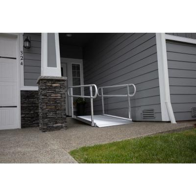GATEWAY 3G 10 ft. Aluminum Solid Surface Wheelchair Ramp with 2-Line Handrails