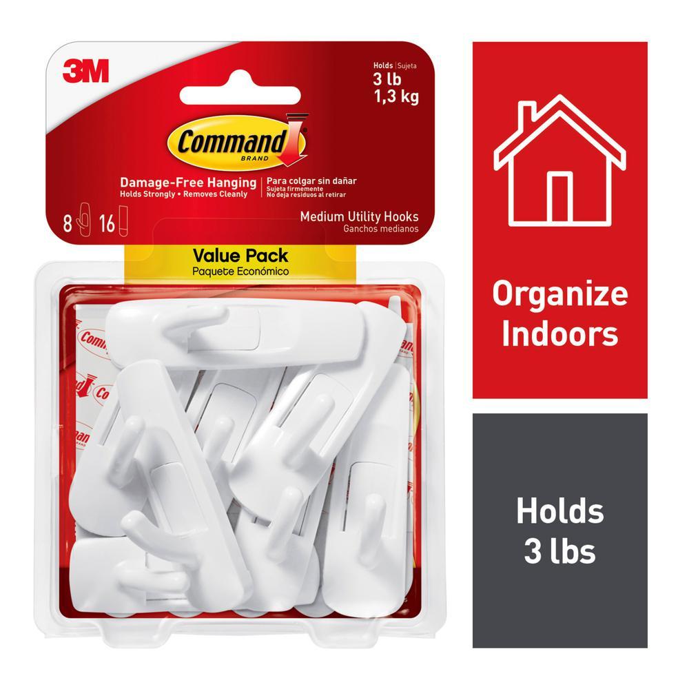 Command Medium White Utility Hook Value Pack (8 Hooks, 16 Strips)
