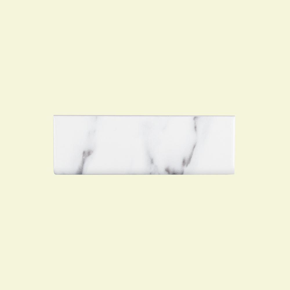 Carrara Inkjet 2 in. x 6 in. Ceramic Single Bullnose Trim