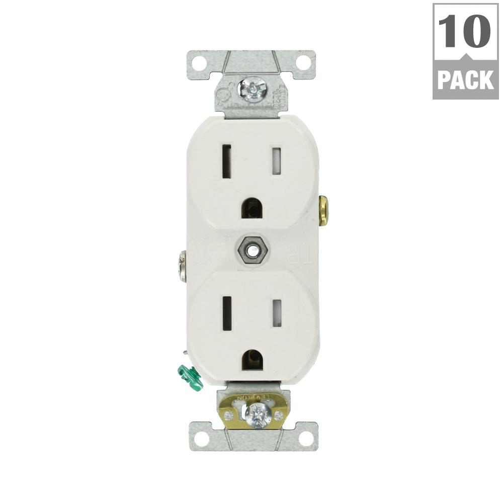 Leviton Decora 15 Amp Duplex Outlet, White-R52-05325-0WS - The Home ...
