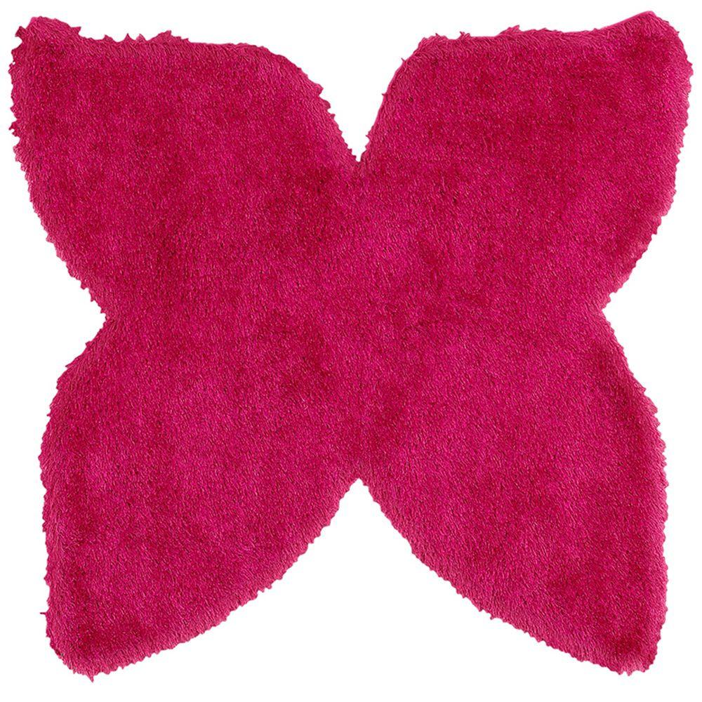 LR Resources Senses Shag Shapes Pink Butterfly 5 ft. x 5 ft. Indoor Area Rug