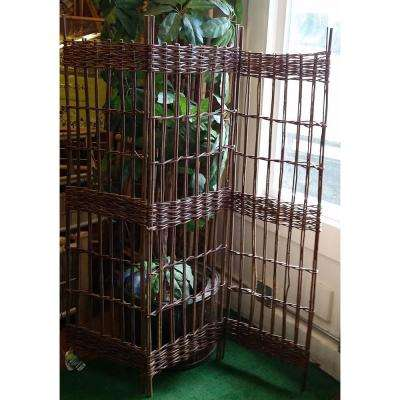 48 in. W x 48 in. H 16 in. per panel 3-Panel Round Top Willow Screen Sets