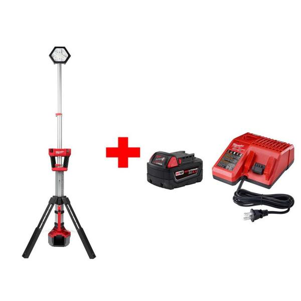 M18 18-Volt Lithium-Ion Cordless Rocket Dual Power Tower Light with M18 5.0Ah Battery and Charger