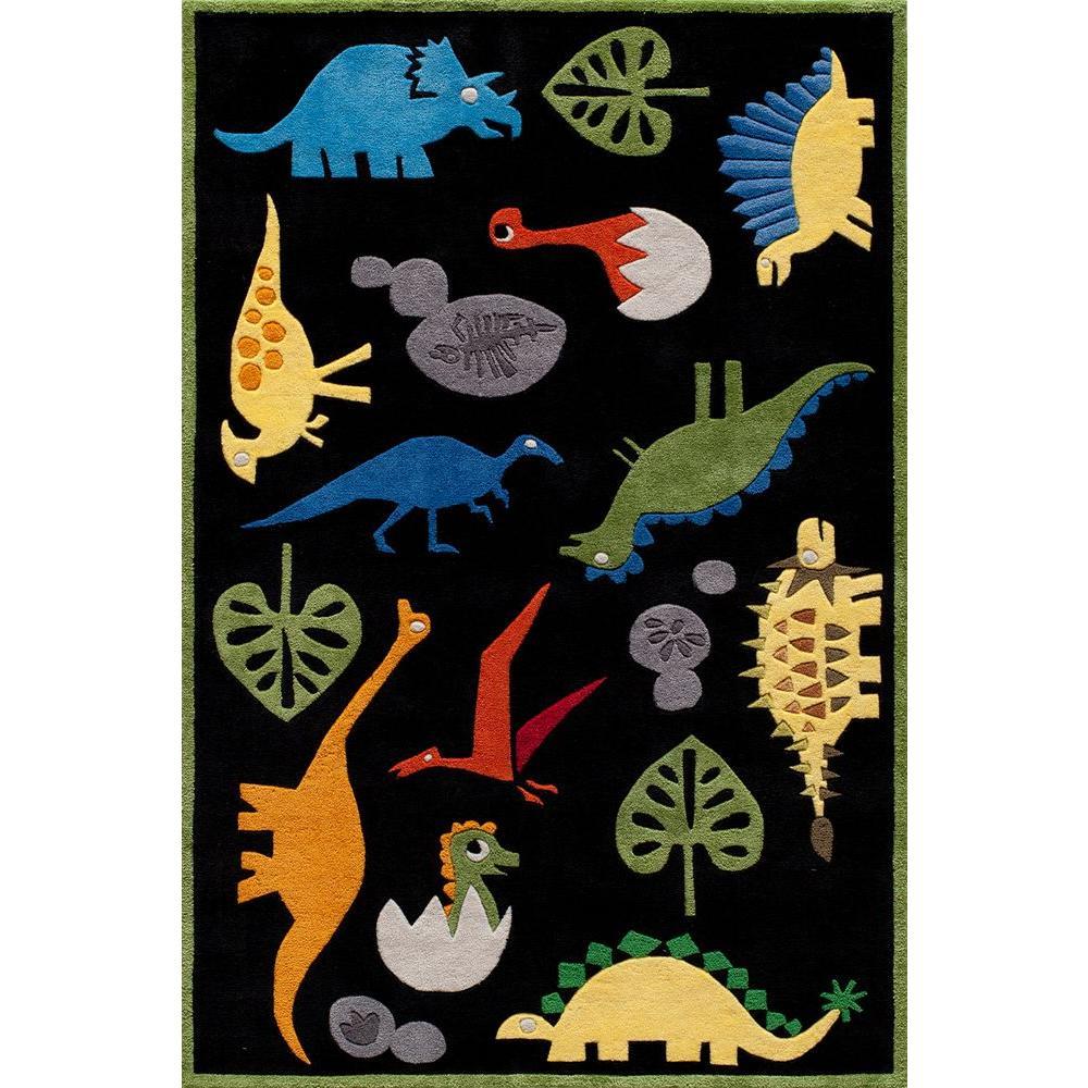 Caprice Dinosaurs Black 3 ft. x 5 ft. Indoor Area Rug
