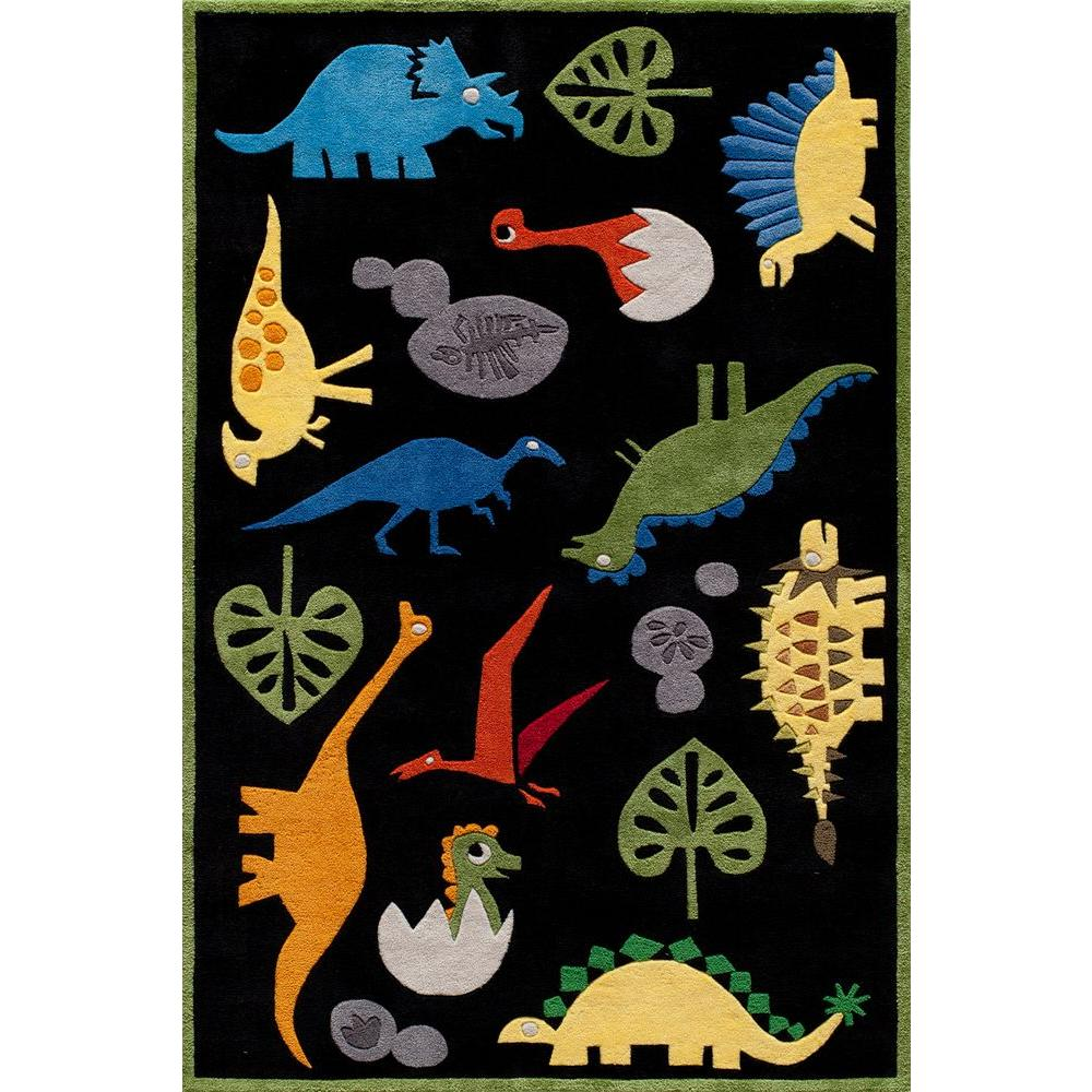Caprice Dinosaurs Black 8 ft. x 10 ft. Indoor Area Rug