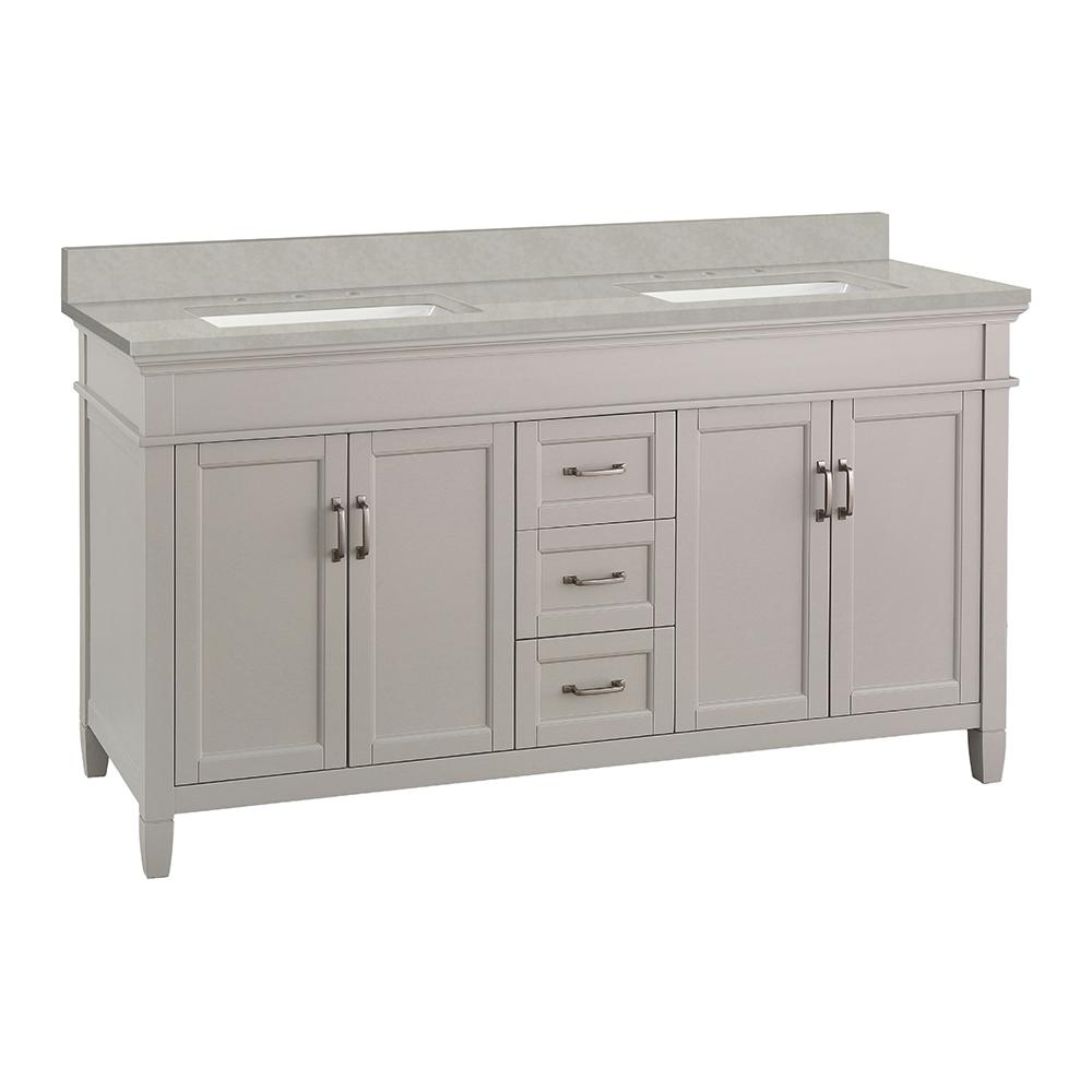 Home Decorators Collection Ashburn 61 in. W x 22 in. D Vanity Cabinet in Grey with Engineered Marble Vanity Top in Dunescape with White Sink