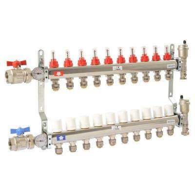 1 in. NPT Inlet x 1/2 in. Stainless Steel Push-Fit 10-Outlet Radiant Heating Manifold