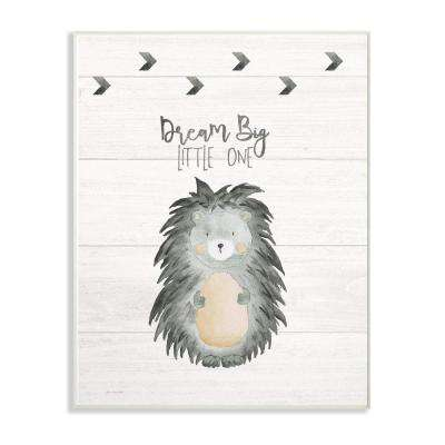 "10 in. x 15 in. ""Dream Big Porcupine"" by Jo Moulton Printed Wood Wall Art"