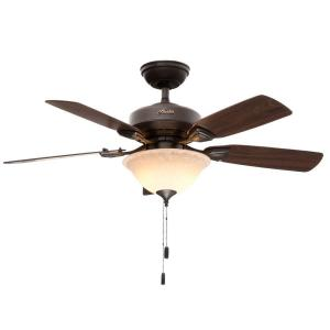 Hunter Caraway 44 inch Indoor New Bronze Ceiling Fan with Light by Hunter