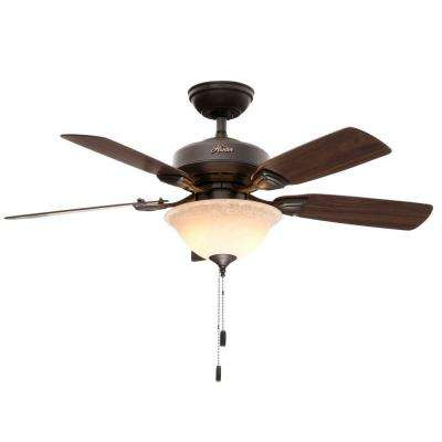 Caraway 44 in. Indoor New Bronze Ceiling Fan with Light Bundled with Handheld Remote Control